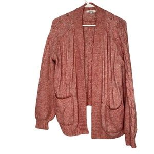 Madewell Pink Bubble Sleeve Cable Knit Sweater